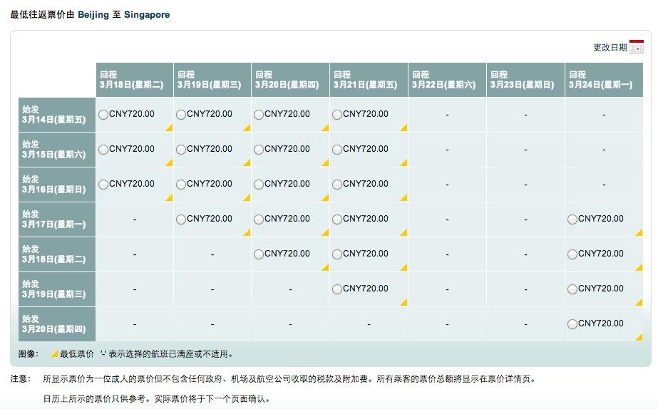 国泰航空内地多城市往返新加坡机票特价660元起,参考税费930元; 国内21个城市出发经由香港转机至新加坡机票特价660元,1月22日零点开始,具体旅行时间和出发城市届时公布。 出发城市:北京,长沙,成都,重庆,大连,福州,桂林,海口,杭州,昆明,南京,宁波,青岛,三亚,上海,天津,温州,武汉,西安,厦门,郑州; 现在出发城市往返新加坡基本只剩下往返720元,含税后1652元的票。