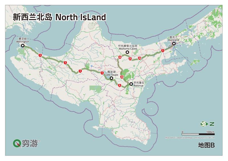 新西兰北岛地图